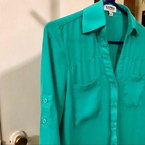 Express Teal Portofino Shirt Blouse Top